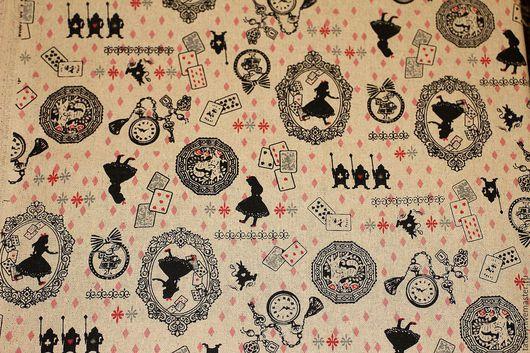 Шитье ручной работы. Ярмарка Мастеров - ручная работа. Купить Ткань лен хлопок Алиса в стране чудес  (винтаж, прованс, кантри). Handmade.