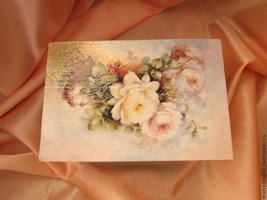 шкатулка `розы`, декупаж, вид сверху