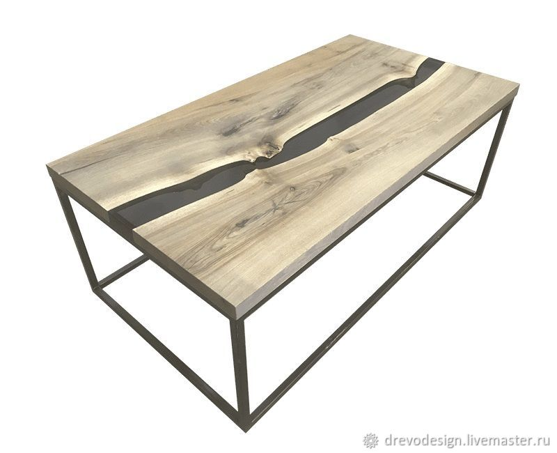 coffee table river with black resin shop online on livemaster rh livemaster com