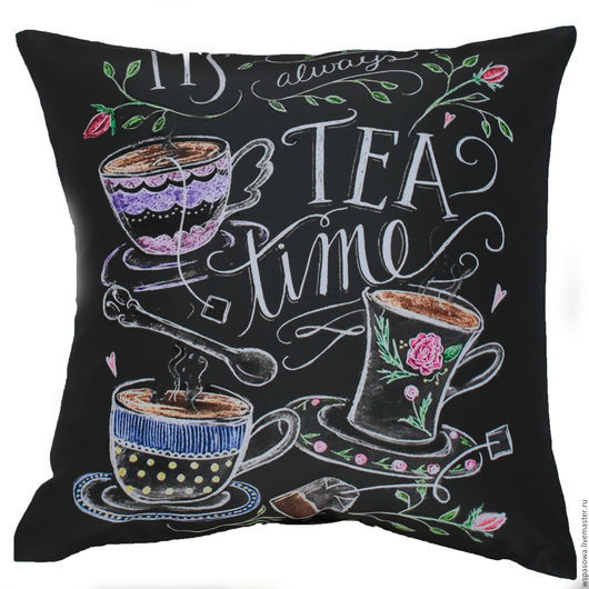 Текстиль, ковры ручной работы. Ярмарка Мастеров - ручная работа. Купить Декоративная подушка чайная. Handmade. Черный, меловая доска