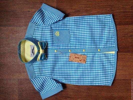 """Одежда для мальчиков, ручной работы. Ярмарка Мастеров - ручная работа. Купить рубашка для мальчика """"М&М"""". Handmade. Бирюзовый, для мальчика"""