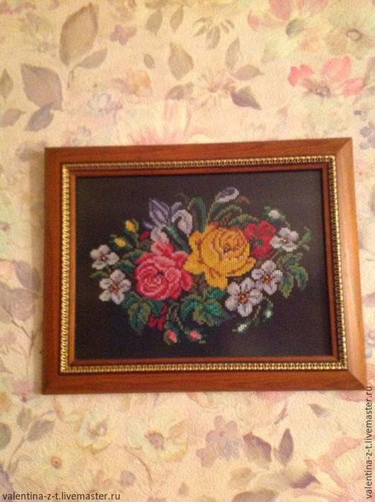 Картины цветов ручной работы. Ярмарка Мастеров - ручная работа. Купить Букет. Handmade. Черный, цветы, мулине, мулине хлопок