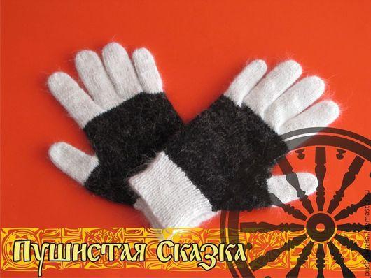 Варежки, митенки, перчатки ручной работы. Ярмарка Мастеров - ручная работа. Купить Перчатки из собачьей шерсти. Handmade. В полоску