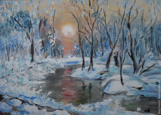 """Пейзаж ручной работы. Ярмарка Мастеров - ручная работа. Купить Картина  """"Зимний лес. Закат"""". Handmade. Тёмно-синий, зима"""