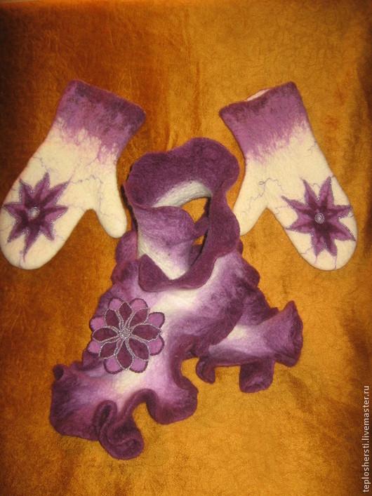 """Комплекты аксессуаров ручной работы. Ярмарка Мастеров - ручная работа. Купить Комплект """"Лунный цветок"""": шарф, варежки, брошь. Handmade."""