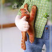 Куклы и игрушки ручной работы. Ярмарка Мастеров - ручная работа Рыжий мальчик и рыжий кот. Handmade.