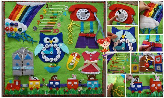 Развивающие игрушки ручной работы. Ярмарка Мастеров - ручная работа. Купить Бизиборд из фетра. Handmade. Комбинированный, бизиборд из фетра, цвета