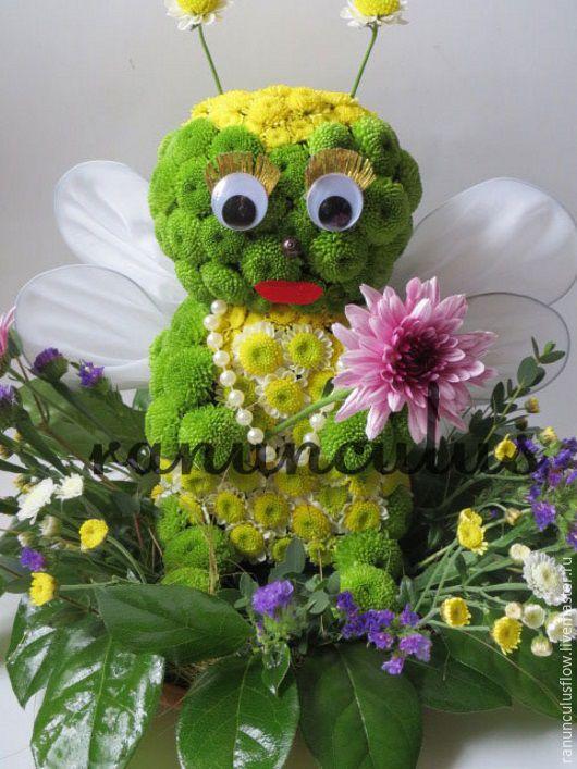 Букеты ручной работы. Ярмарка Мастеров - ручная работа. Купить Пчелка из цветов. Handmade. Комбинированный, игрушки из цветов, Пчелка Майя