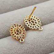 Материалы для творчества handmade. Livemaster - original item Earrings studs 11x8 mm gold plated (3647). Handmade.