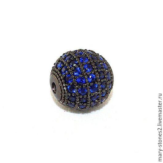 Для украшений ручной работы. Ярмарка Мастеров - ручная работа. Купить Бусина шар 10мм с синими фианитами черная (Milano). Handmade.