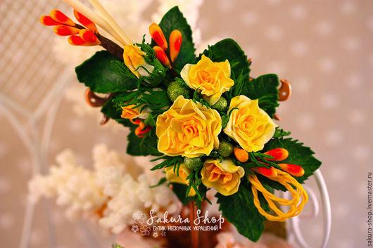 Броши ручной работы. Ярмарка Мастеров - ручная работа. Купить Брошь заколка ободок для волос `Солнце Амальфи` с розами. Handmade.