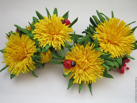 """Заколки ручной работы. Ярмарка Мастеров - ручная работа. Купить """"Солнечные зайчики"""" одуванчики.. Handmade. Желтый, цветок ручной работы"""