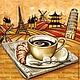 Декупаж и роспись ручной работы. Ярмарка Мастеров - ручная работа. Купить Кофе в Европе (SLOG020101) - салфетка для декупажа. Handmade. Разноцветный