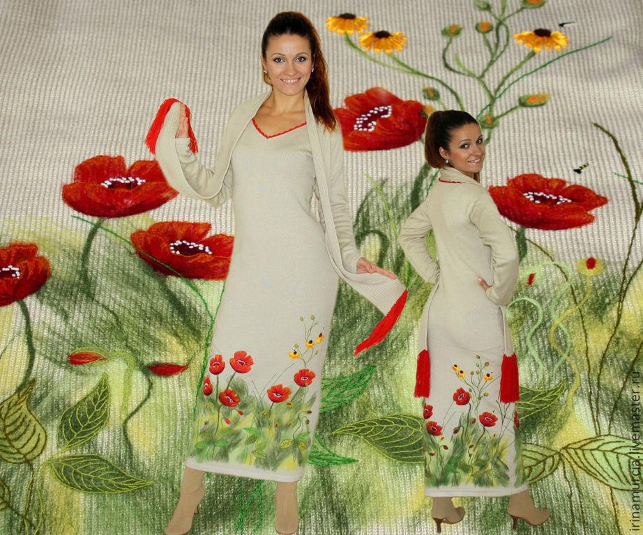 """Вязаное платье в пол, теплое, нарядное с вышивкой """"Маки"""", Платья, Мурсия, Фото №1"""