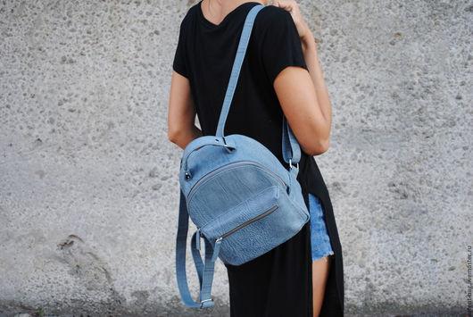 Рюкзаки ручной работы. Ярмарка Мастеров - ручная работа. Купить C034(голубой деним). Handmade. Голубой, рюкзак городской