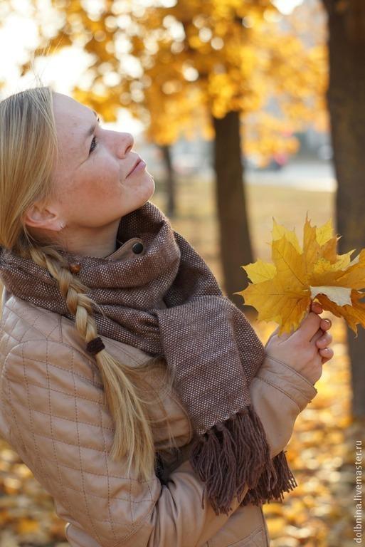 Шали, палантины ручной работы. Ярмарка Мастеров - ручная работа. Купить Шарф-палантин домотканый Autumn & brown 2. Handmade.
