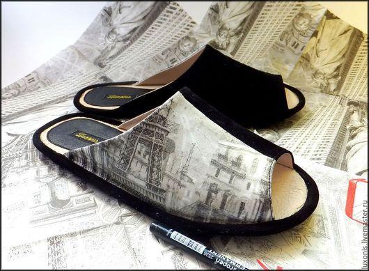 """Обувь ручной работы. Ярмарка Мастеров - ручная работа. Купить Кожаные тапки """"Города"""". Handmade. Чёрно-белый, мужская обувь"""