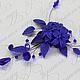 Королевский синий в колье ручной работы из полимерной глины и хрусталя. Цена 1800р