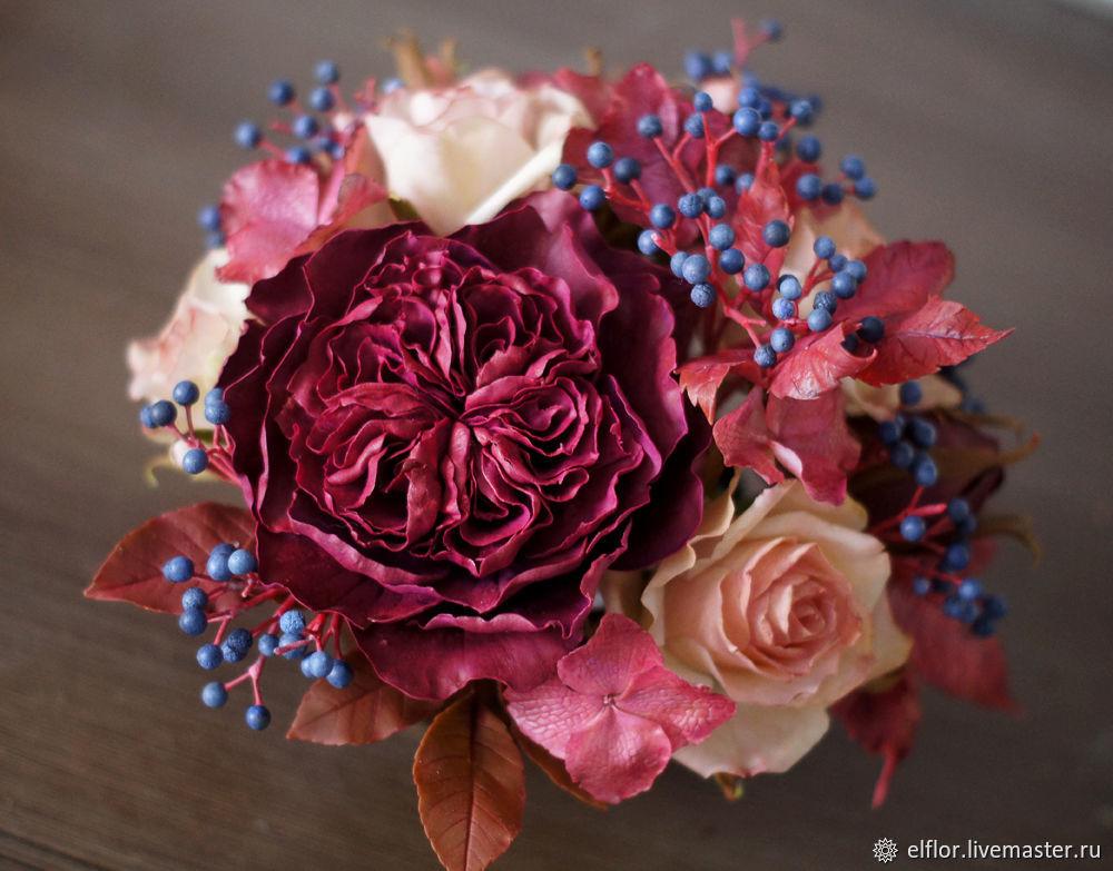 Букет из полимерной глины с розами и диким виноградом, Композиции, Саранск,  Фото №1