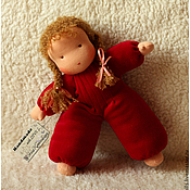 Куклы и игрушки ручной работы. Ярмарка Мастеров - ручная работа Куколка в пришивном комбинезоне. Handmade.