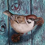 Картины и панно handmade. Livemaster - original item Oil painting of a Sparrow Curious Guest. Handmade.