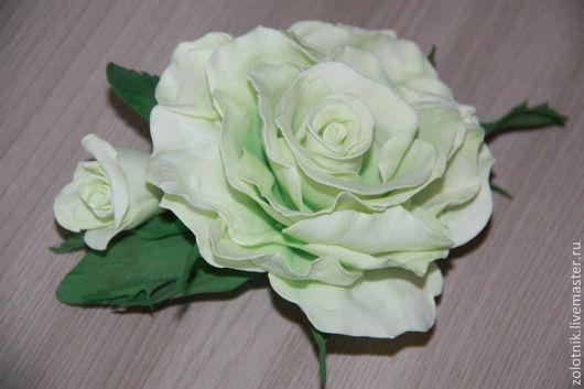 """Цветы ручной работы. Ярмарка Мастеров - ручная работа. Купить Заколка с розой из фоамирана """"Мятная прохлада"""". Handmade. Мятный"""