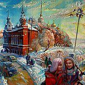 Картины и панно ручной работы. Ярмарка Мастеров - ручная работа Зима в городе. Handmade.