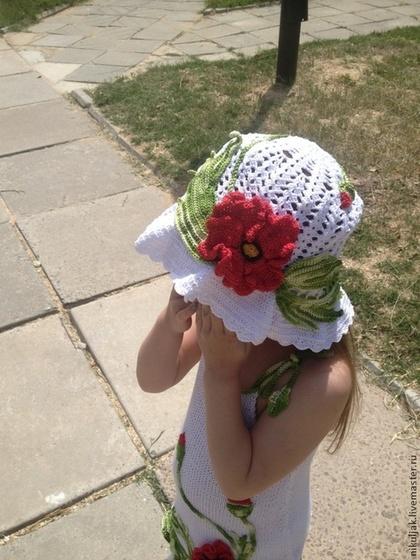 """Одежда для девочек, ручной работы. Ярмарка Мастеров - ручная работа Панама для девочки """"Время Маков"""". Handmade."""