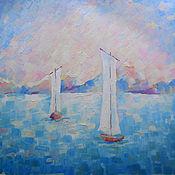 Картины и панно ручной работы. Ярмарка Мастеров - ручная работа Картина. Лодки в море.... Handmade.