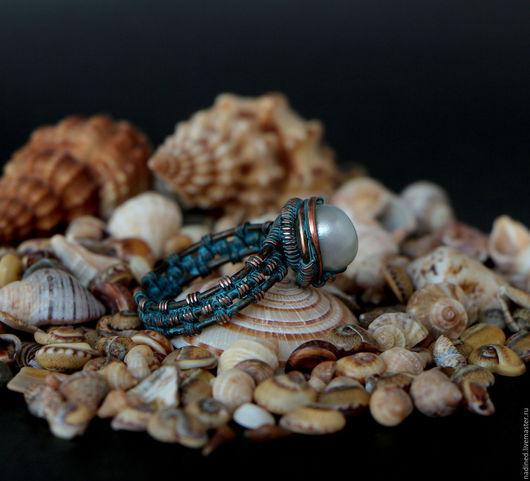 """Кольца ручной работы. Ярмарка Мастеров - ручная работа. Купить Кольцо """"Tethys"""" (жемчуг, медь, патина). Handmade. Медное кольцо"""