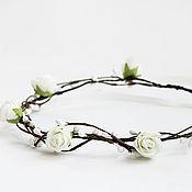 Диадемы ручной работы. Ярмарка Мастеров - ручная работа Венок из белых цветов, венок для невесты. Handmade.