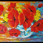 """Картины и панно ручной работы. Ярмарка Мастеров - ручная работа """"Весёлые маки"""". Handmade."""