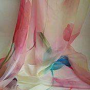 Материалы для творчества ручной работы. Ярмарка Мастеров - ручная работа Палантин шелк шифон  натуральный Тюльпаны. Handmade.