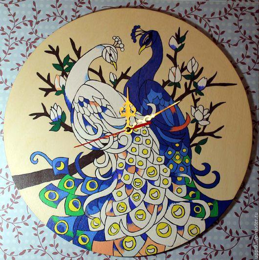 """Часы для дома ручной работы. Ярмарка Мастеров - ручная работа. Купить Часы """"Птицы счастья"""". Handmade. Тёмно-синий, подарок"""