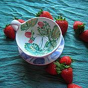 """Чайные пары ручной работы. Ярмарка Мастеров - ручная работа Чайная пара """"Клубника"""". Handmade."""