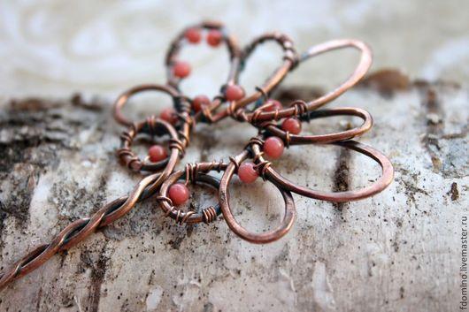 Заколки ручной работы. Ярмарка Мастеров - ручная работа. Купить Медная шпилька для волос с розовым кораллом. Handmade. Коралловый