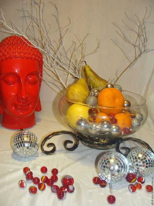 """Подарочные наборы ручной работы. Ярмарка Мастеров - ручная работа. Купить Ваза для фруктов """"Вкусная радость"""". Handmade. Черный, стекло"""