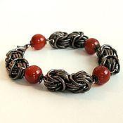 "Украшения handmade. Livemaster - original item Copper bracelet with cornelian ""Vivien"". Handmade."