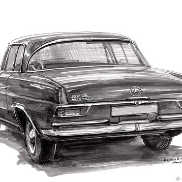 Картины и панно ручной работы. Ярмарка Мастеров - ручная работа Автомобиль Mercedes Benz 250 SE Automatic W108, рисунок. Handmade.