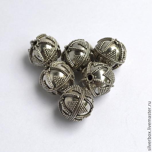 Бусина Бали `Мяч` В570 гранулированная. Серебро 925 пробы. Для Украшений Нина(SilverBox)