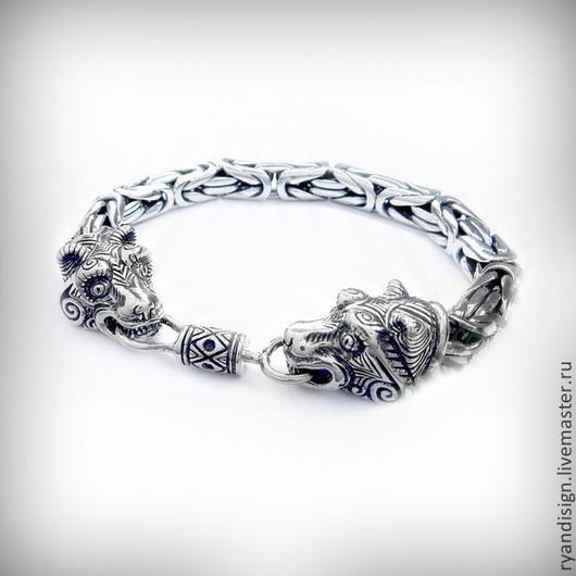 Браслет серебряный мужской, Медведи \r\nСеребряные мужские браслеты