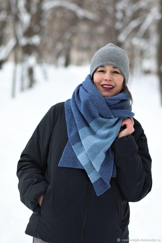 Шарф вязаный голубой Джинс, Шарфы, Москва,  Фото №1
