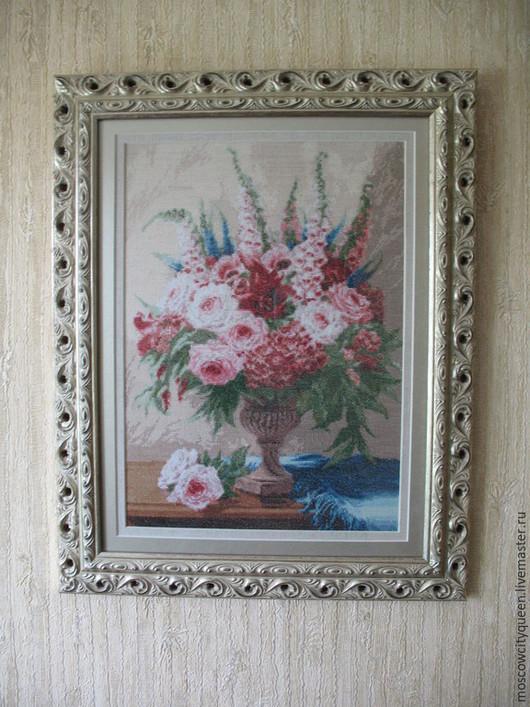 Картины цветов ручной работы. Ярмарка Мастеров - ручная работа. Купить картина вышитая крестом Розовый вальс. Handmade. Разноцветный