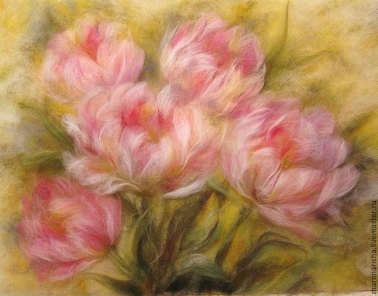 Картины цветов ручной работы. Ярмарка Мастеров - ручная работа. Купить Картина из шерсти Для тебя. Handmade. Бледно-розовый