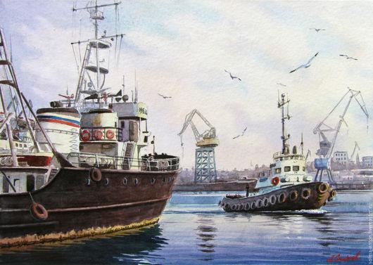 """Пейзаж ручной работы. Ярмарка Мастеров - ручная работа. Купить """"Мы пришли сегодня в порт.."""" )). Handmade. корабль"""