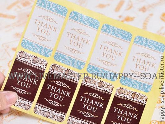 """Упаковка ручной работы. Ярмарка Мастеров - ручная работа. Купить Наклейка-стикер """"THANK YOU"""".. Handmade. Этикетка, упаковка, для мыла"""