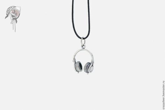 Кулон наушники.   CRAZY SILVER ™     Кулон ручной работы из серебра 925, максимальная детализация, маленькая копия наушников.
