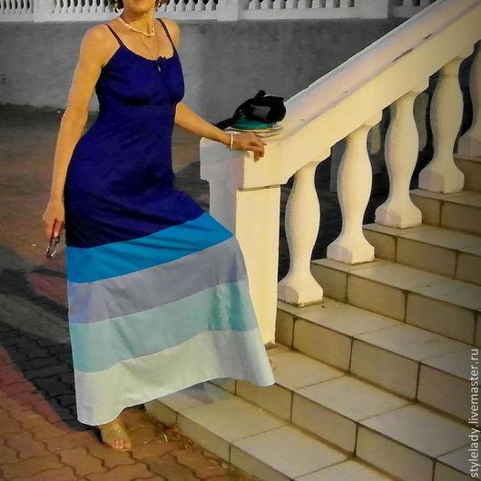"""Платья ручной работы. Ярмарка Мастеров - ручная работа. Купить Платье из американского хлопка """" Море Навсегда """". Handmade."""