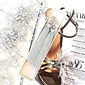 Украшения handmade. Livemaster - original item Earrings-brush silver Moon smoky gray silver silk pearls. Handmade.