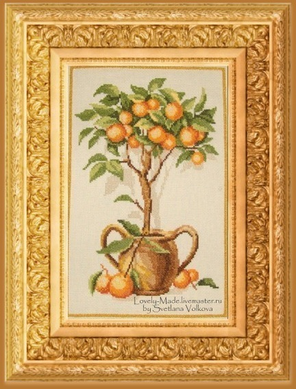 Апельсиновое дерево. Ручная вышивка крестом, Картины, Челябинск,  Фото №1